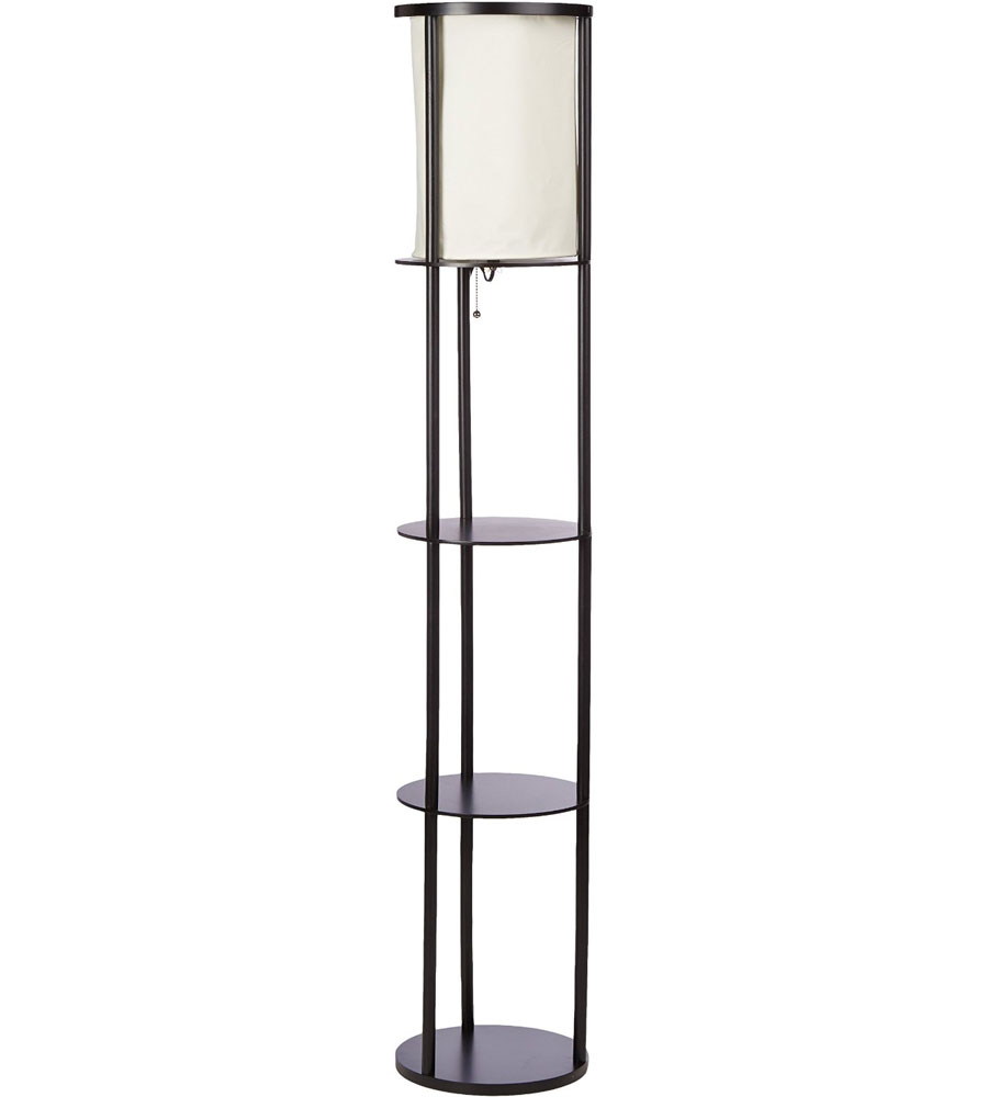 Three shelf floor lamp in free standing shelves Floor lamp with shelves
