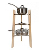 Three-Tier Cookware Stand - Maple and Chrome
