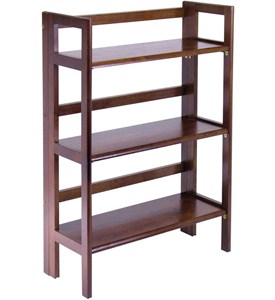 Three Tier Folding Storage Shelf - Antique Walnut Image