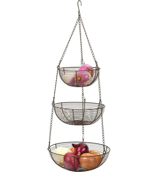 Three-Tier Hanging Fruit Basket - Bronze Image