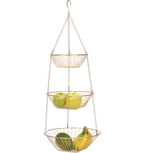 Three-Tier Hanging Fruit Basket - Copper Image