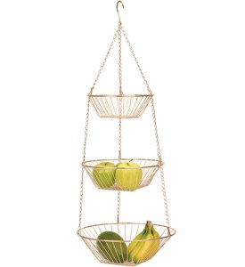 Three-Tier Hanging Fruit Basket - Copper Image