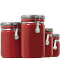 Ceramic Kitchen Canisters - Red