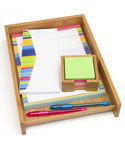 Bamboo Paper Tray and Sticky Note Holder