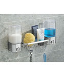 Double Soap Dispenser With Basket - Polished