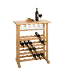Wooden Wine and Stemware Rack - Natural