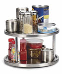 Two-Tier Lazy Susan Turntable - Stainless Steel