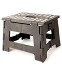 Kikkerland Easy Fold Black Step Stool - 8.5 Inches