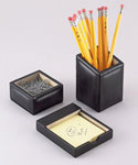 Black Leather Desk Organizer Set