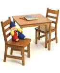 Childrens Wooden Table and Chairs - Pecan