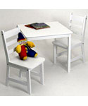 Childrens Wooden Table and Chairs - White