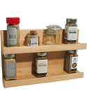 Two Tier Wooden Kitchen Spice Rack