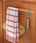 Over the Cabinet Towel Bar and Hooks