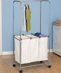 Rolling Laundry Center - Satin Silver