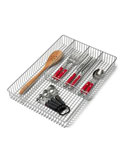 Large Chrome Grid Flatware Organizer