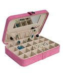 Faux Suede Travel Jewelry Case - Pink