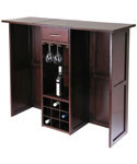 Wine Bar with Expandable Counter - Antique Walnut