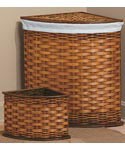 Bamboo Corner Hamper and Wastebasket Set