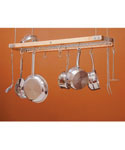 Wood and Chrome Hanging Pot Rack