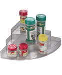 Clear Plastic Three-Tier Corner Spice Rack