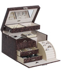 Locking Jewelry Box - Faux Leather