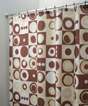 Mod Square Fabric Shower Curtain - Brown