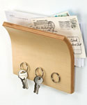 Letter Holder and Magnetic Key Rack - Natural