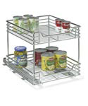 Two-Tier Chrome Sliding Cabinet Organizer