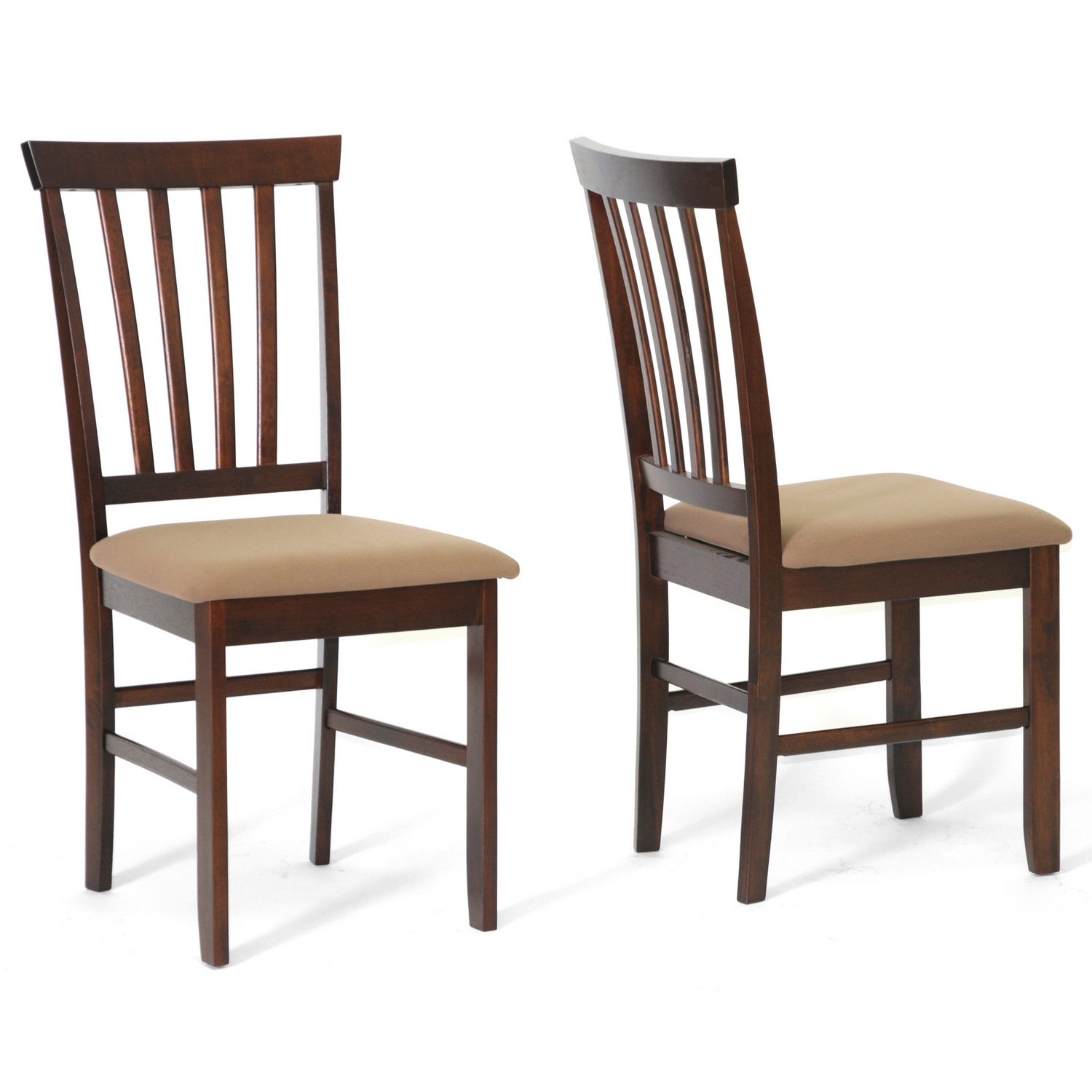 Tiffany brown wood modern dining chairs set of 2 by for Dining designer chairs