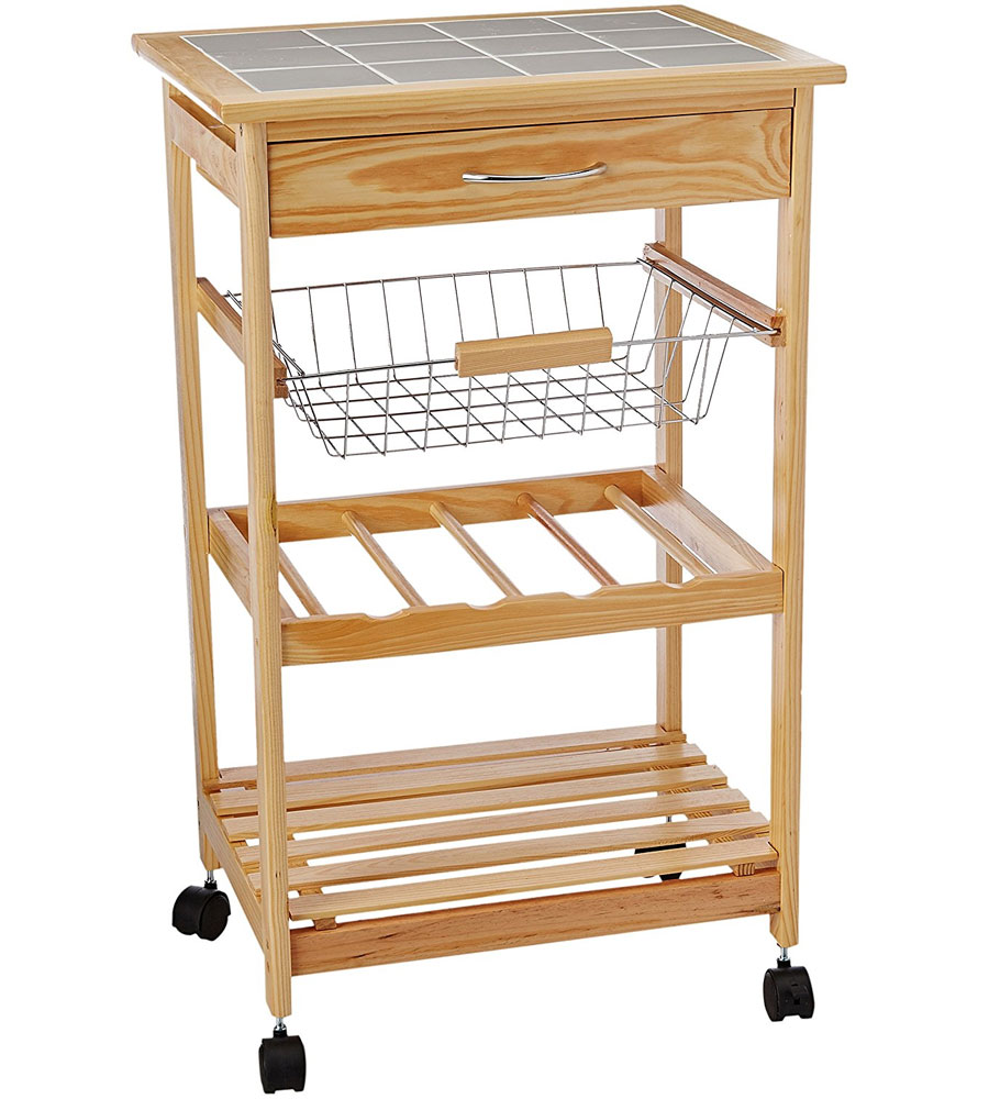 Tile Top Kitchen Cart With Baskets By Neu Home In Kitchen Island Carts