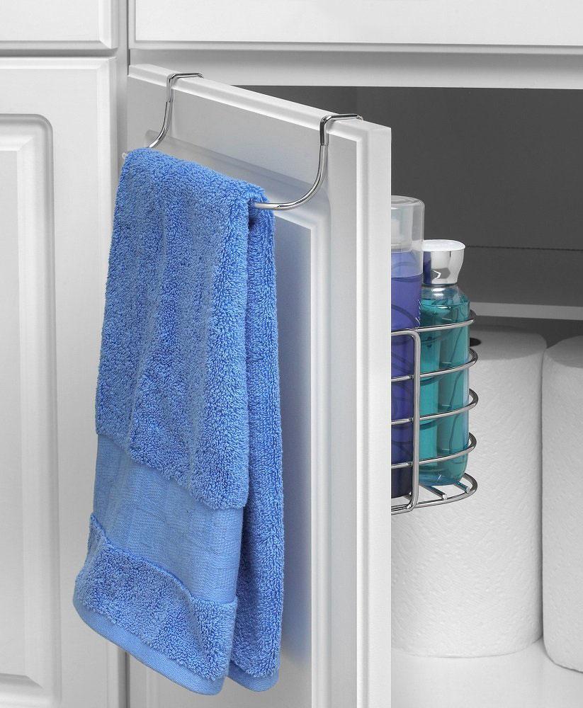 Towel Rack With Basket In Cabinet Door Organizers