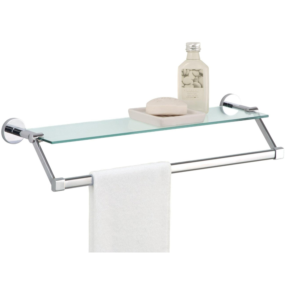 Towel rack with shelf glass in bathroom shelves for Bathroom glass shelves