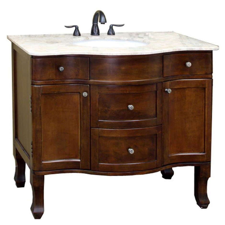 Traditional 38 2 inch single sink vanity and cabinet in for Bathroom 2 sink vanities