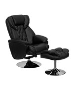 Transitional Black Leather Recliner and Ottoman with Chrome Base by Flash Furniture, Leather Recliners - BT-7807-TRAD-GG