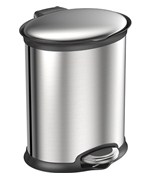 Trash Receptacle - Oval Stainless Steel 5L