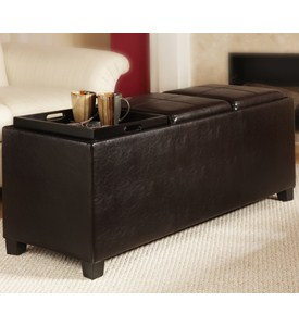 Tribeca Ottoman with Three Tray Tops by Convenience Concepts Image
