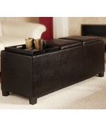 Tribeca Ottoman with Three Tray Tops by Convenience Concepts