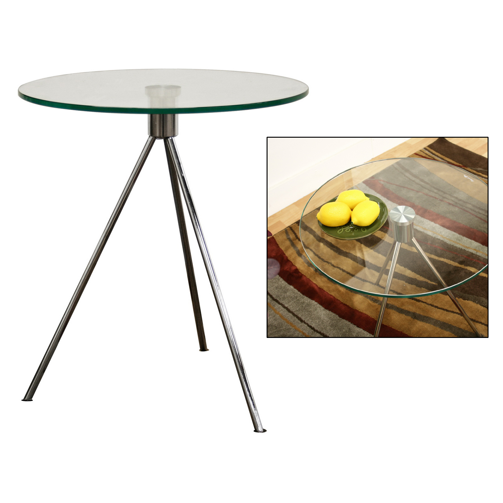Captivating Triplet Round Glass Top End Table With Tripod Base   By Wholesale Interiors  Image
