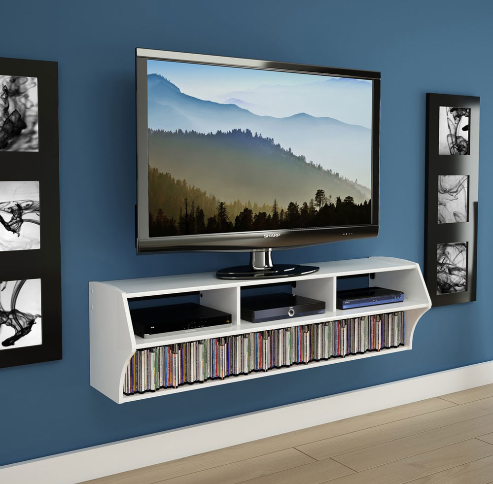 Wall mounted tv console in tv stands for Console meuble design