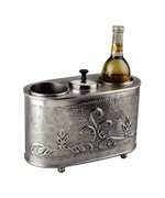 Two Bottle Wine Chiller - Embossed Pewter