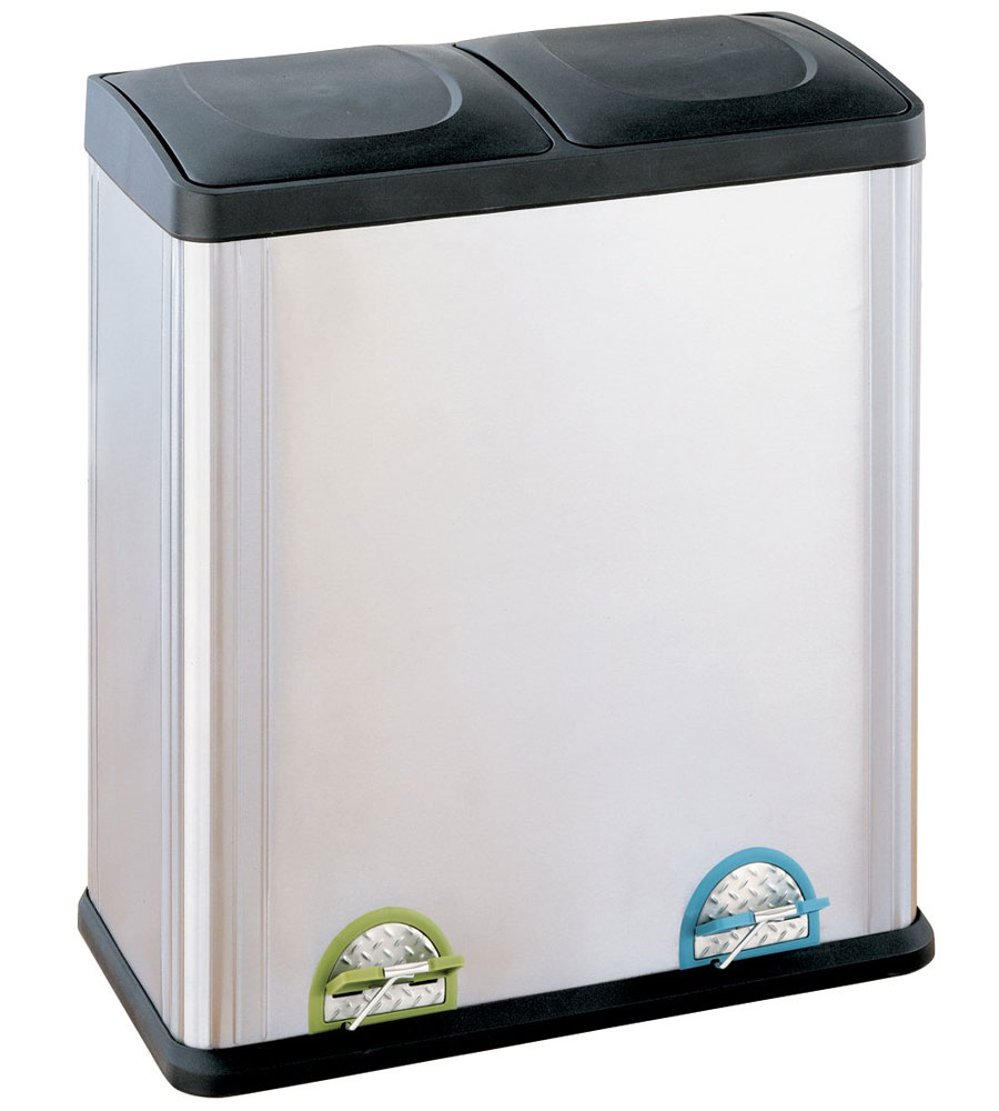 Two-Compartment Stainless Steel Recycle Bin in Recycling Bins