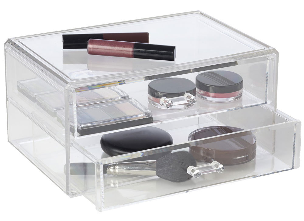 Two Drawer Make Up Organizer Acrylic In Cosmetic Organizers