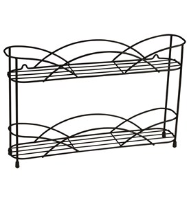 Two-Tier Black Wall-Mount Spice Rack Image