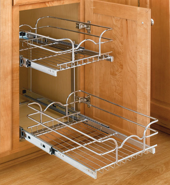 Two tier cabinet organizer extra small in pull out cabinet shelves Bathroom cabinet organizers pull out
