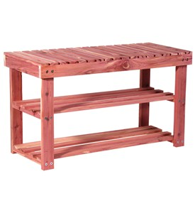 Two Tier Cedar Shoe Rack and Seat Bench by Household Essentials Image