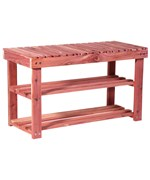Two Tier Cedar Shoe Rack and Seat Bench by Household Essentials