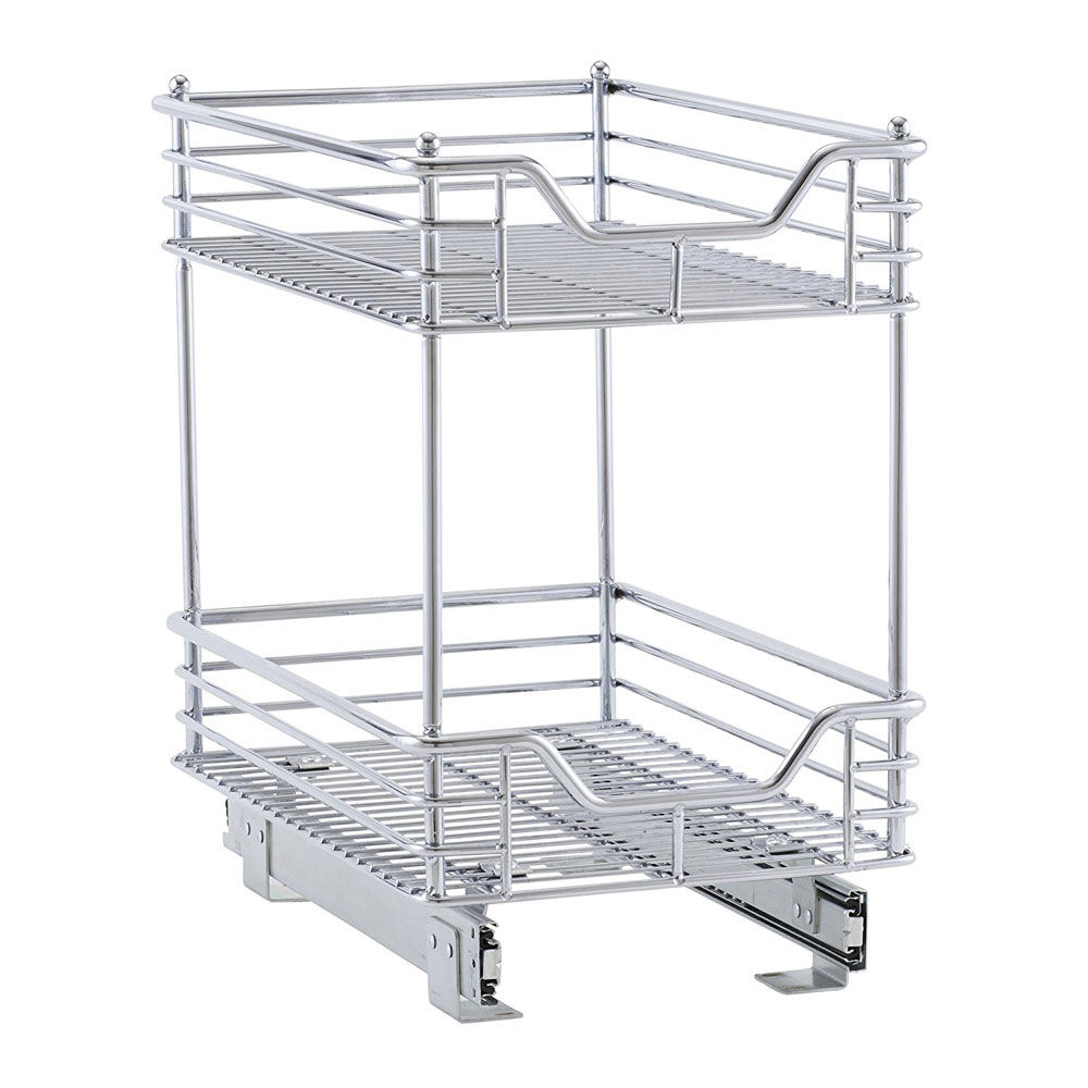 Two Tier Chrome Sliding Cabinet Organizer In Pull Out Baskets