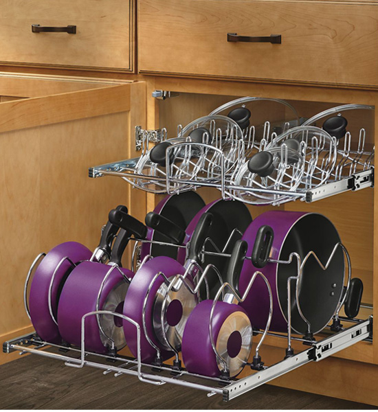 two tier cookware organizer extra large in pull out cabinet shelves. Black Bedroom Furniture Sets. Home Design Ideas
