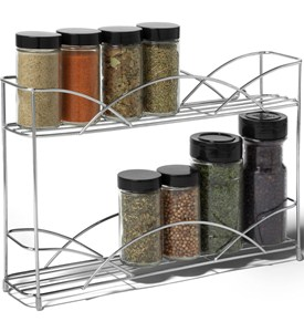 Two-Tier Silver Wall-Mount Spice Rack Image