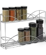 Two-Tier Silver Wall-Mount Spice Rack